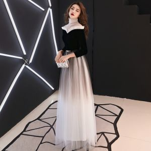 Vintage / Retro Black Gradient-Color See-through Evening Dresses  2019 A-Line / Princess High Neck 3/4 Sleeve Metal Sash Floor-Length / Long Ruffle Formal Dresses