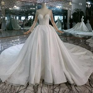 High-end Eye-catching White Ball Gown Wedding Dresses 2020 U-Neck Long Sleeve Handmade  Beading Backless Crystal Sequins Cathedral Train Wedding