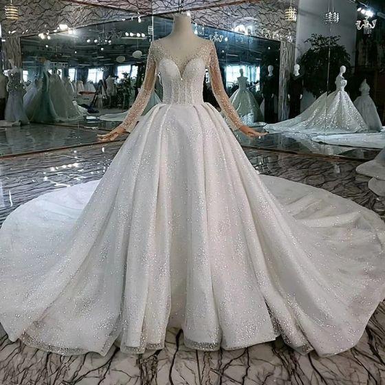 High End Eye Catching White Ball Gown Wedding Dresses 2020 U Neck Long Sleeve Handmade Beading