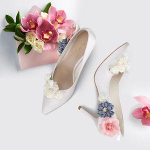 Flower Fairy Ivory Wedding Shoes 2018 Handmade  Leather Flower 8 cm Stiletto Heels Pointed Toe Wedding Pumps