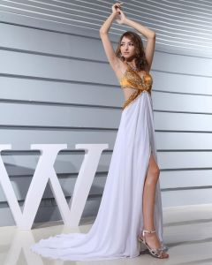 Spaghetti Straps Sleeveless Floor Length Beading Chiffon Silk Woman Celebrity Dresses