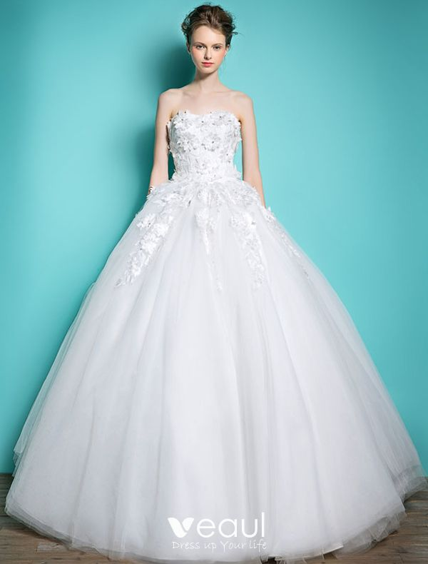 Beautiful Wedding Dresses 2016 Ball Gown Strapless Applique Lace And Flowers Beading Rhinestone Backless Bridal Gown