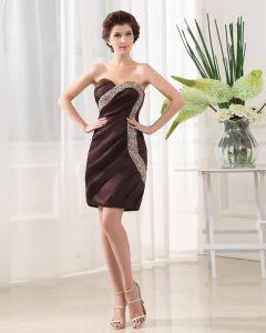 Mangas Cariño Cremallera Abalorios Largo Mini Mujer Seda Pequeño Vestido Negro De Cóctel De Satén Vestido De Cóctel Negro