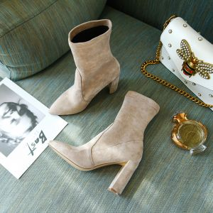 High-end Beige Winter Street Wear Leather Womens Boots 2020 Suede 9 cm Thick Heels Pointed Toe Boots