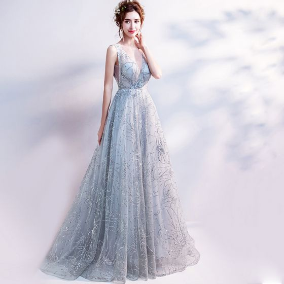 Sparkly Grey Evening Dresses  2018 Tulle Glitter Sequins Evening Party Formal Dresses