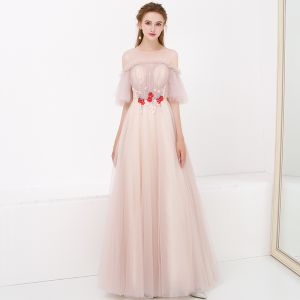 Chic / Beautiful Pearl Pink Evening Dresses  2018 A-Line / Princess See-through Scoop Neck 1/2 Sleeves Appliques Lace Floor-Length / Long Ruffle Backless Formal Dresses
