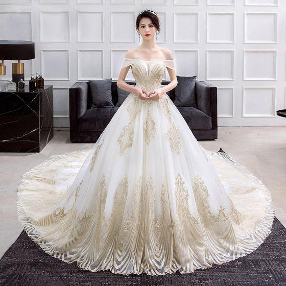 magnífico oro marfil vestidos de novia 2018 ball gown fuera del