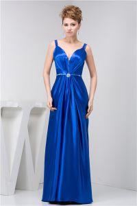 2015 Klassischen Empire V-ausschnitt Spaghetti-trägern Sicke Rüschen Schärpe Langen Kleid Blauen Abendkleid