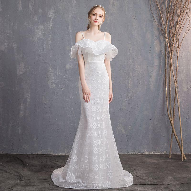 Amazing / Unique White Wedding Dresses 2018 Trumpet / Mermaid Spaghetti Straps Backless Short Sleeve Sweep Train Wedding