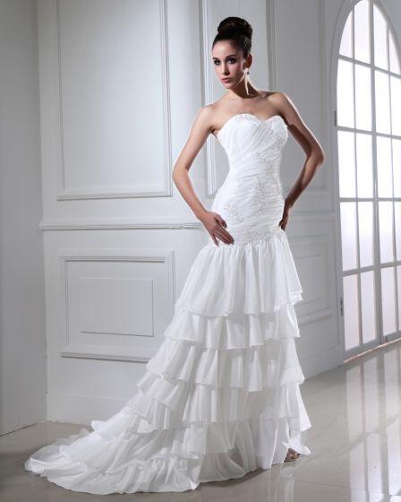 Taft Applique Schatz Kurz Brautkleider Hochzeitskleid