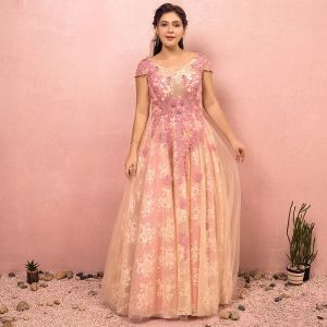 Flower Fairy Beige Plus Size Evening Dresses  2018 A-Line / Princess V-Neck Tulle Appliques Backless Beading Crystal Evening Party Prom Dresses