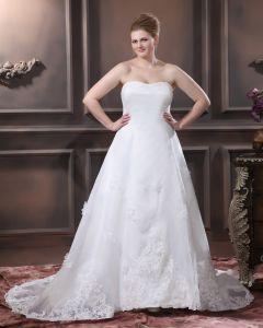 Satin Organza Perles Applique Fleur Bustier De La Main Ainsi Que La Taille De Mariée Robes De Mariage De Robe