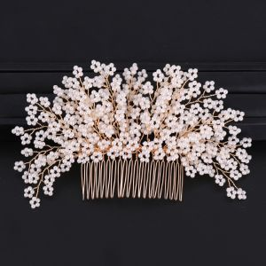 Charming Gold Hair Comb Bridal Hair Accessories 2020 Alloy Beading Headpieces Wedding Accessories