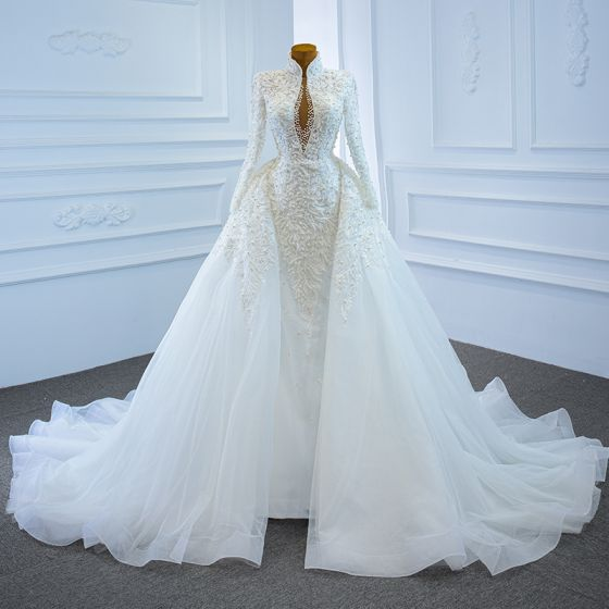 Luxury / Gorgeous White Bridal Wedding Dresses 2020 Ball Gown See-through Deep V-Neck Long Sleeve Backless Appliques Lace Beading Pearl Chapel Train Ruffle