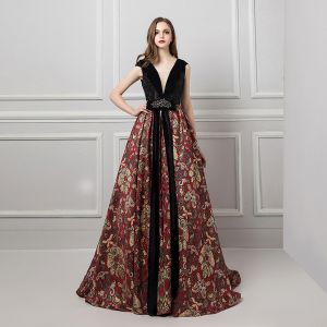 Sexy Black Evening Dresses  2019 A-Line / Princess V-Neck Sleeveless Beading Rhinestone Sash Printing Flower Court Train Ruffle Backless Formal Dresses