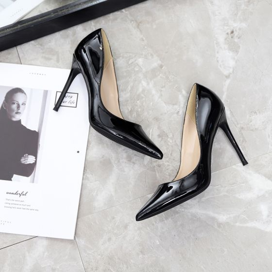 Chic / Beautiful Black Office OL Pumps 2020 Patent Leather 10 cm Stiletto Heels Pointed Toe Pumps