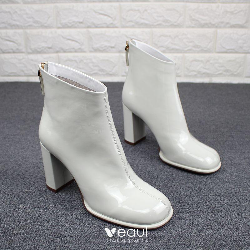 Flotte Hvide Casual Laklæder Støvler Dame 2019 Læder 8 cm Tykke Hæle Runde Tå Støvler