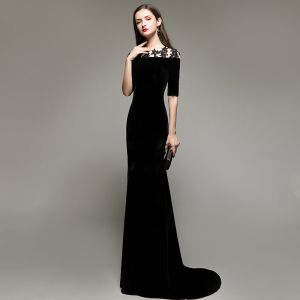 Elegantes Sencillos Negro Vestidos de noche 2020 Trumpet / Mermaid Suede Scoop Escote Con Encaje Flor 1/2 Ærmer Colas De Barrido Vestidos Formales