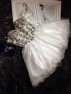 Advanced Handmade Corset Cocktail Dress Beading Crystal White Organza Little Party Dress