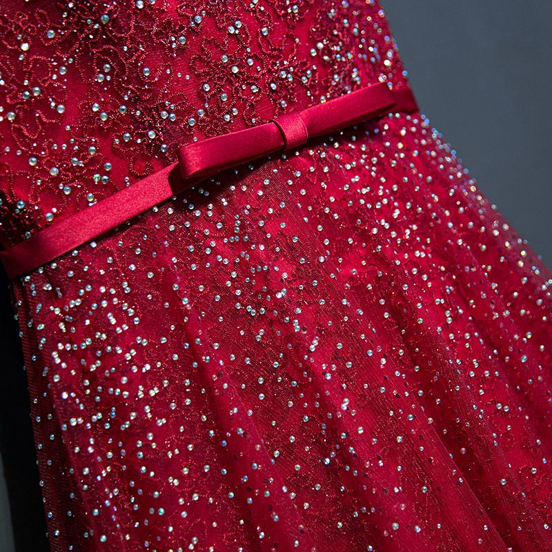 Sparkly Red Evening Dresses  2017 Lace Flower Sequins Scoop Neck Sleeveless Ankle Length Empire Formal Dresses