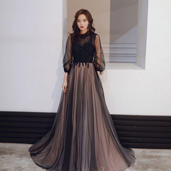 Vintage Czarne Sukienki Wieczorowe 2020 Princessa Przezroczyste Wysokiej Szyi Bufiasta 3/4 Rękawy Aplikacje Z Koronki Cekiny Frezowanie Długie Wzburzyć Bez Pleców Sukienki Wizytowe