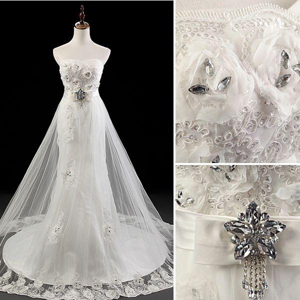 Handgjord Blomma Skärp Crystal Spets Bröllopsklänning