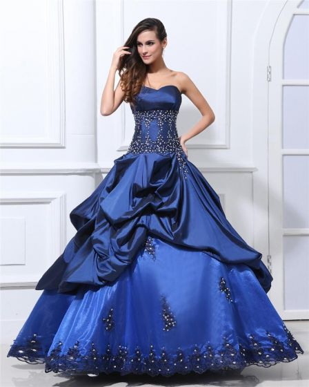 Ball Gown Taffeta Embroidery Beading Sweetheart Floor Length Quinceanera Prom Dresses
