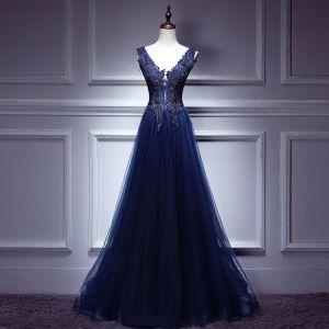 Moderne / Mode Bleu Roi Robe De Soirée 2017 Princesse En Dentelle Tulle V-Cou Dos Nu Perlage Soirée Robe De Ceremonie
