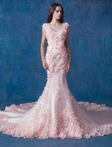 Glamorous Pink Wedding Dress Mermaid Organza Applique Flower Bridal Dress