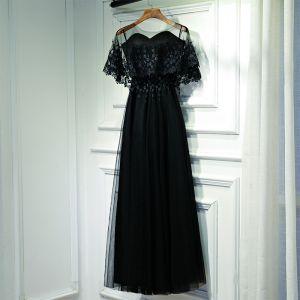 Klasyczna Czarne Sukienki Wizytowe Sukienki Wieczorowe 2017 Z Koronki Kwiat Bez Pleców Długość Kostki Kochanie Kótkie Rękawy Imperium