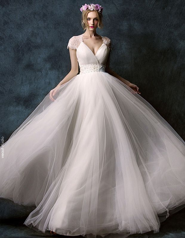 2015 A-line Shoulders Deep V-neck Embroidered Flower Sash Floor-length Lace Wedding Dress