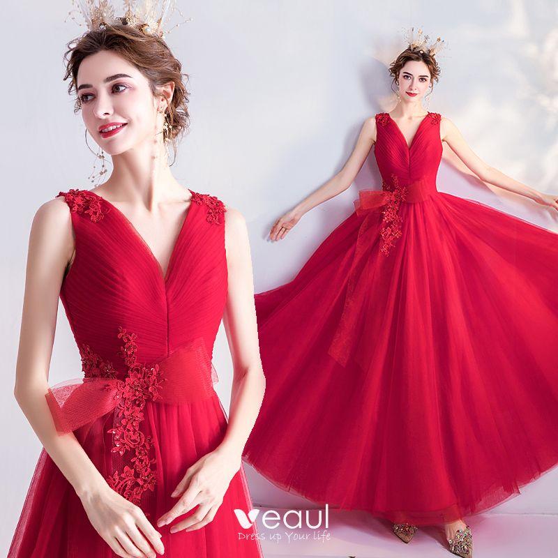 Hermoso Rojo Vestidos De Gala 2020 A Line Princess V Cuello Bowknot Rebordear Lentejuelas Con Encaje Flor Sin Mangas Sin Espalda Largos Vestidos