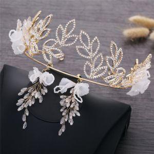 Élégant Doré Mariage Bijoux Mariage 2019 Métal Fleur Faux Diamant Tiare Cristal Boucles D'Oreilles Accessorize