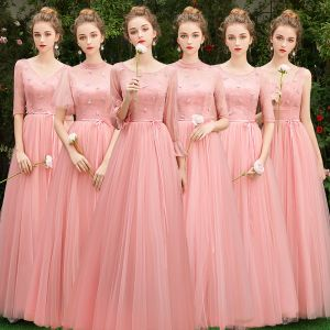 Affordable Pearl Pink Bridesmaid Dresses 2019 A-Line / Princess Sash Appliques Lace Floor-Length / Long Backless Wedding Party Dresses
