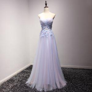 Mode Himmelblau Abendkleider 2017 A Linie Lange Fallende Rüsche Herz-Ausschnitt Ärmellos Rückenfreies Applikationen Blumen Perle Festliche Kleider