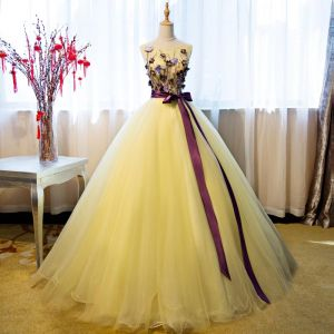 Elegant Yellow Quinceañera Prom Dresses 2018 Ball Gown Appliques Sequins Bow Scoop Neck Backless Sleeveless Floor-Length / Long Formal Dresses