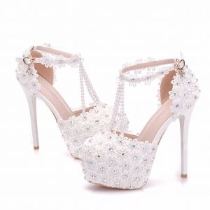 Modern / Fashion White Wedding Shoes 2018 Lace Flower Pearl Rhinestone Ankle Strap T-Strap 11 cm Stiletto Heels Round Toe Wedding High Heels