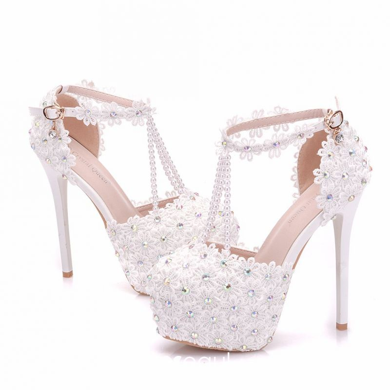 7d10961acc Modern / Fashion White Wedding Shoes 2018 Lace Flower Pearl ...