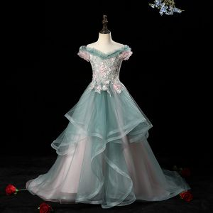Charming Ink Blue See-through Birthday Flower Girl Dresses 2020 A-Line / Princess Off-The-Shoulder Short Sleeve Flower Appliques Lace Beading Pearl Rhinestone Court Train Cascading Ruffles