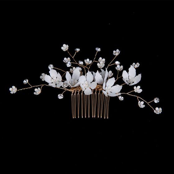 Blomsterfe Gull Hodepynt Har Tilbehor 2020 Metall Blomst Rhinestone Bryllups Tilbehør