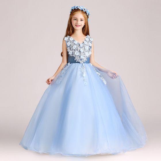 Chic / Beautiful Sky Blue Flower Girl Dresses 2017 Ball Gown V-Neck Sleeveless Appliques Flower Pearl Floor-Length / Long Ruffle Wedding Party Dresses