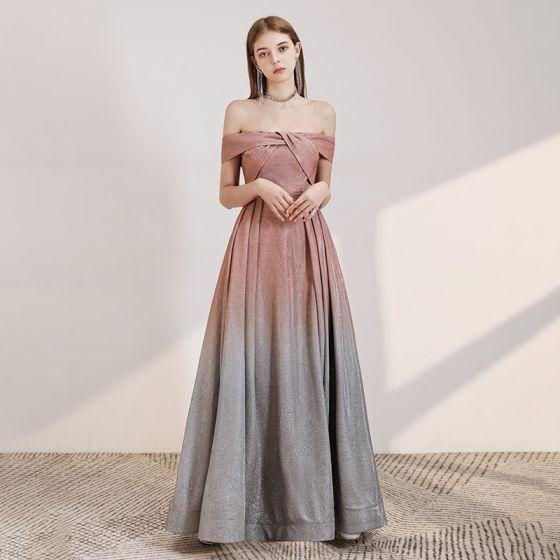 Schöne Pearl Rosa Farbverlauf Grau Abendkleider 2020 A Linie Off Shoulder Kurze Ärmel Glanz Polyester Lange Rückenfreies Festliche Kleider