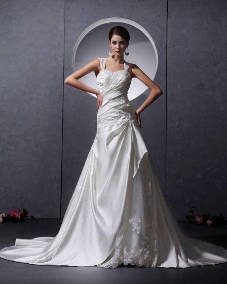 Applikationer Garn Satin Volanger Beading Armlos Alskling Kapell Tag A-linje Brudklänningar Bröllopsklänningar