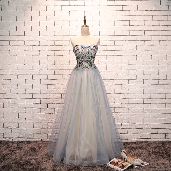 Charming Sky Blue Evening Dresses  2019 A-Line / Princess Sweetheart Bow Pearl Lace Flower Sleeveless Backless Floor-Length / Long Formal Dresses