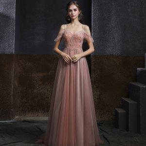 Elegant Perle Pink Dancing Gallakjoler 2020 Prinsesse Spaghetti Straps Kort Ærme Rhinestone Beading Lange Flæse Halterneck Kjoler
