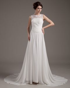 Satin Lace Applique Sweep Sheath Bridal Gown Wedding Dress