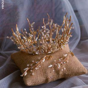 Luksusowe Złote Biżuteria Ślubna 2019 Metal Frezowanie Perła Rhinestone Tiara Kolczyki Ślub Akcesoria