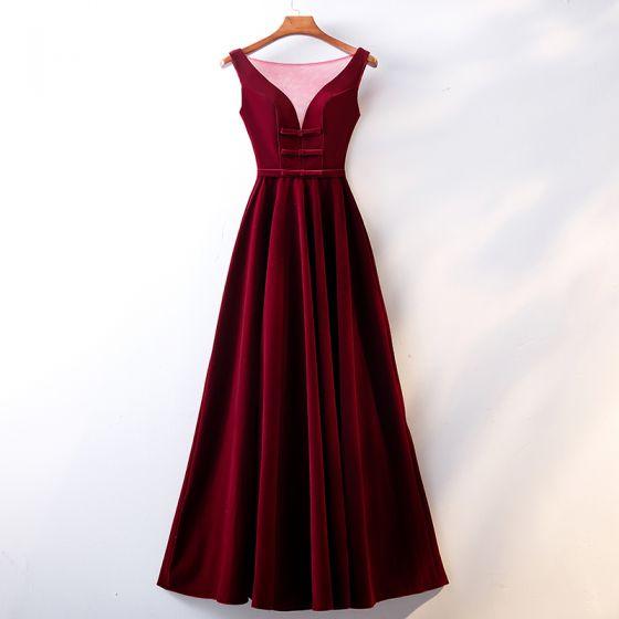 Piękne Burgund Sukienki Wieczorowe 2019 Princessa Wycięciem Zamszowe Kokarda Bez Rękawów Bez Pleców Długie Sukienki Wizytowe