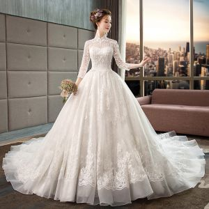 Chinese style Ivory See-through Wedding Dresses 2019 A-Line / Princess High Neck 3/4 Sleeve Backless Appliques Lace Beading Chapel Train Ruffle