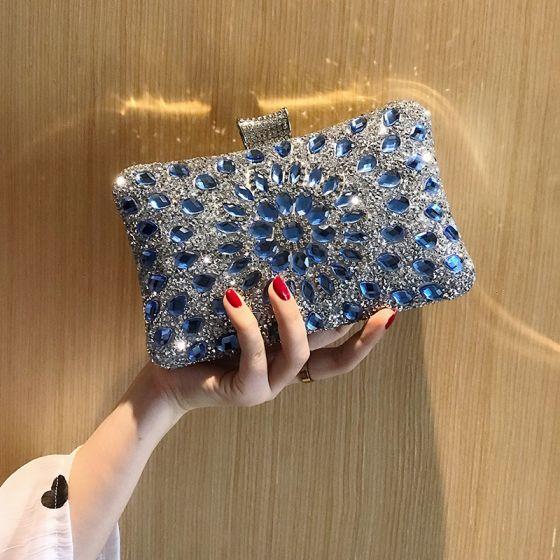 Chic / Belle Bleu Roi Faux Diamant Carrés Pochette 2020